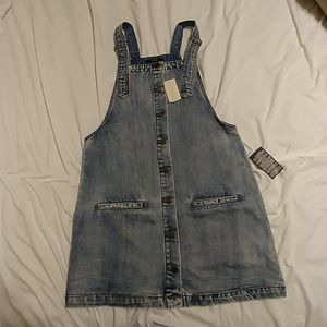 NWT Forever 21 Denim Overall Dress. Size L.